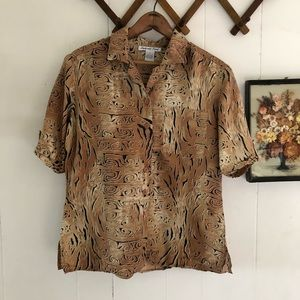 Patterned Silk Button Down Blouse